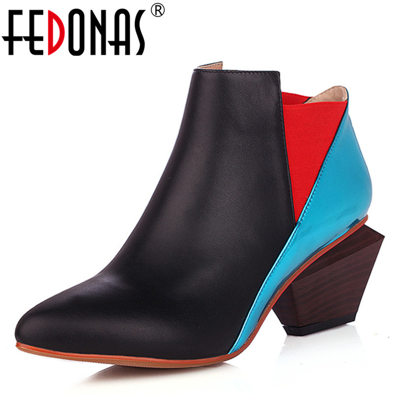 FEDONAS Fashion Cow Leather Suede Ankle Boots For Women High Heeled Boots Sexy Patchwork Autumn Winter Shoes Woman Martin Boots autumn winter boots soft leather fur boots women s new thin high heeled ankle boots fashion patchwork shoes boots women 2016