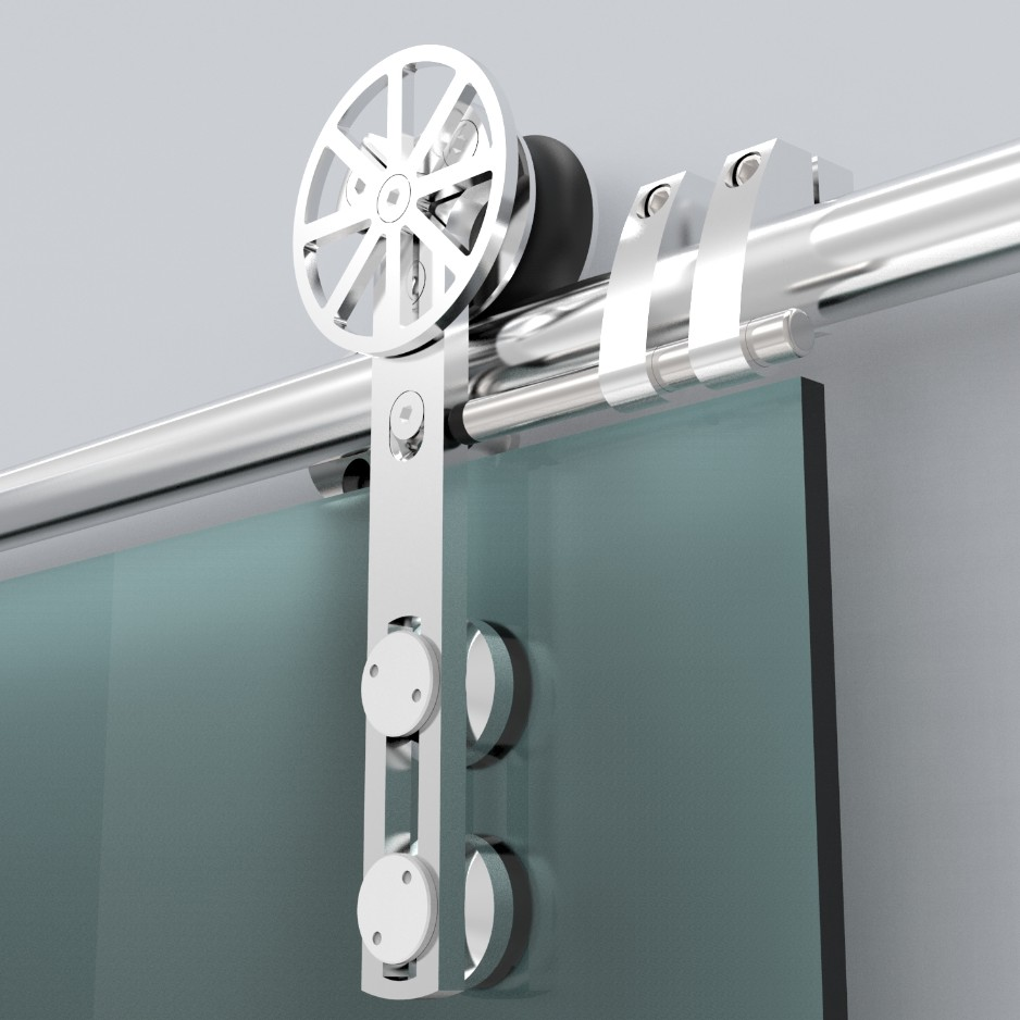 European Style Stainless Steel Sliding Barn Glass Door Hardware Sliding Barn Track Hardware With Movable Decoration Ring