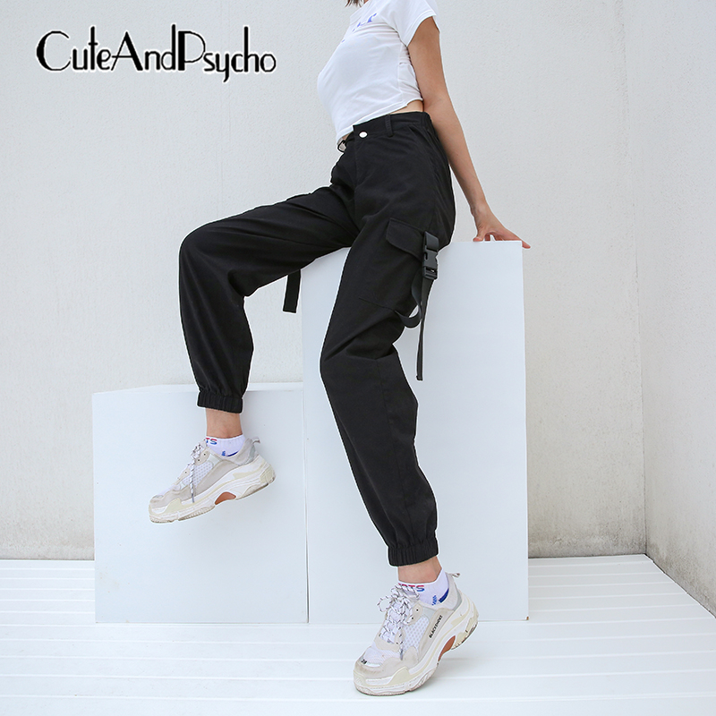 Women Casual Pockets Cargo   Pants   Korean Style Ladies Trousers Jogger Loose Black High waist   Pant     Capris   Streetwear cuteandpsycho