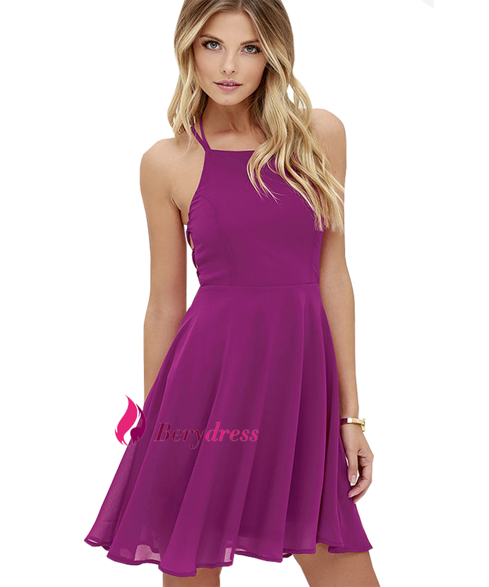 2932e775f4 Wholesale- Sexy Club Royal Blue Lace Up Backless Spaghetti Strap Skater  Dress A Line Purple Party Vestido 2017 Summer Dresses for Dancing