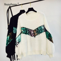 Sequin Decoration Women Sweaters and Pullovers High Collar Round Neck Lantern Sleeve Winter Velvet Sweater Jumper Pull Femme