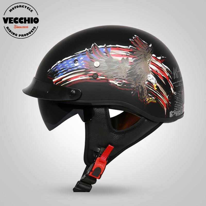 все цены на NEW arrival Harley Motorcycle helmet Fiberglass Jet helmet retro 1/2 half helmet with inner visor DOT Casco Casque Moto Harley