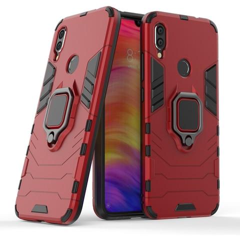 Silicone Cases For Xiaomi redmi note 7 Covers For Xiaomi Mi Play Case FingerRing Hard Bags Iron Man Housings Karachi
