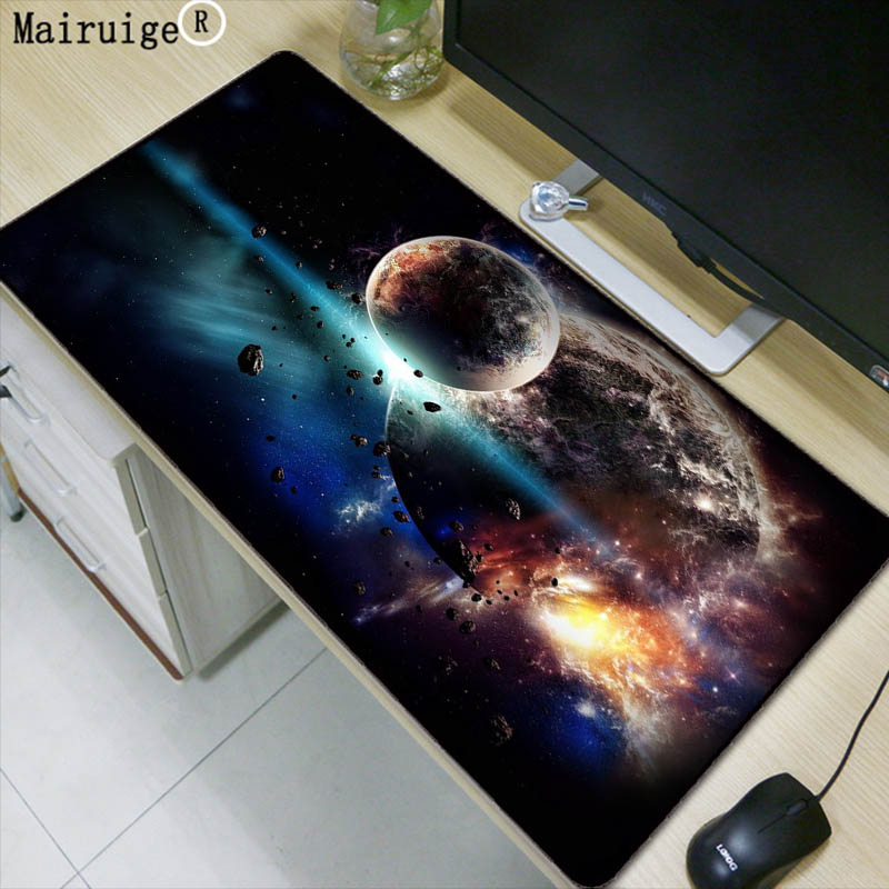 Mairuige Moon Space Blue Large Mouse Pad Gaming Waterproof Mousepad Anti-slip Natural Rubber Gaming Mouse Mat with Locking Edge недорго, оригинальная цена