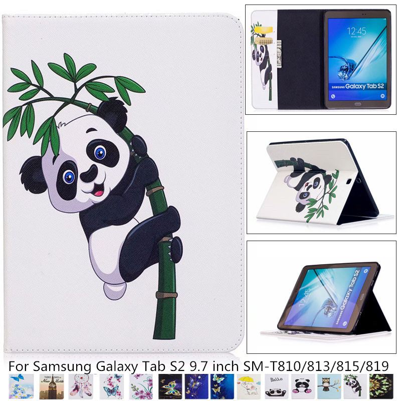 Tab S2 SM-T810/813/815/819 Panda Owl Pattern Case PU Leather Stand Cover For Samsung Galaxy Tab S2 9.7 Tablet Case T810 T815+pen