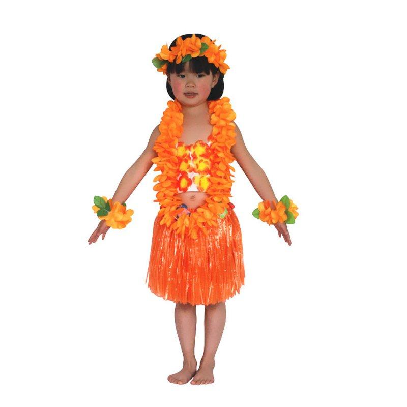Kids Hawaiian Hula Grass Skirt Lei Headband Wristband Fancy Dance Dress Skirt