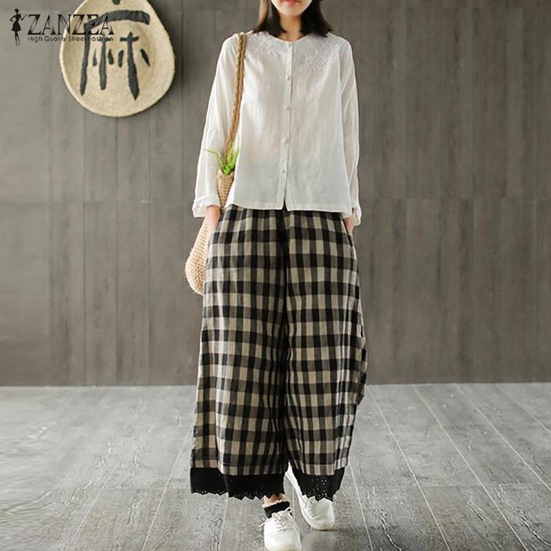 2019 ZANZEA Women Plaid   Wide     Leg     Pants   Vintage Elegant Ladies Trousers Patchwork Lace Pantalons Femme Cotton Linen Streetwear