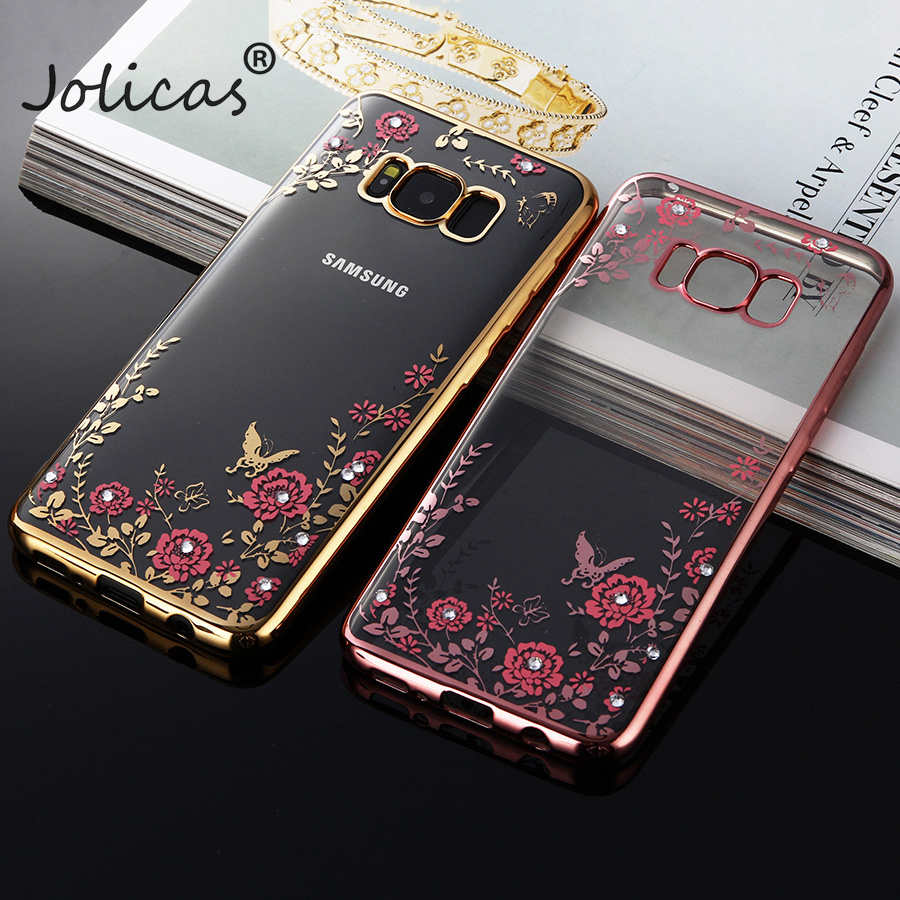 Luxury flower case For Samsung Galaxy S6 S7 S8 S9 Plus Phone Cover for samsung galaxy A3 A5 A7 2017 J1 <font><b>J3</b></font> J5 J7 <font><b>2016</b></font> Prime Case image