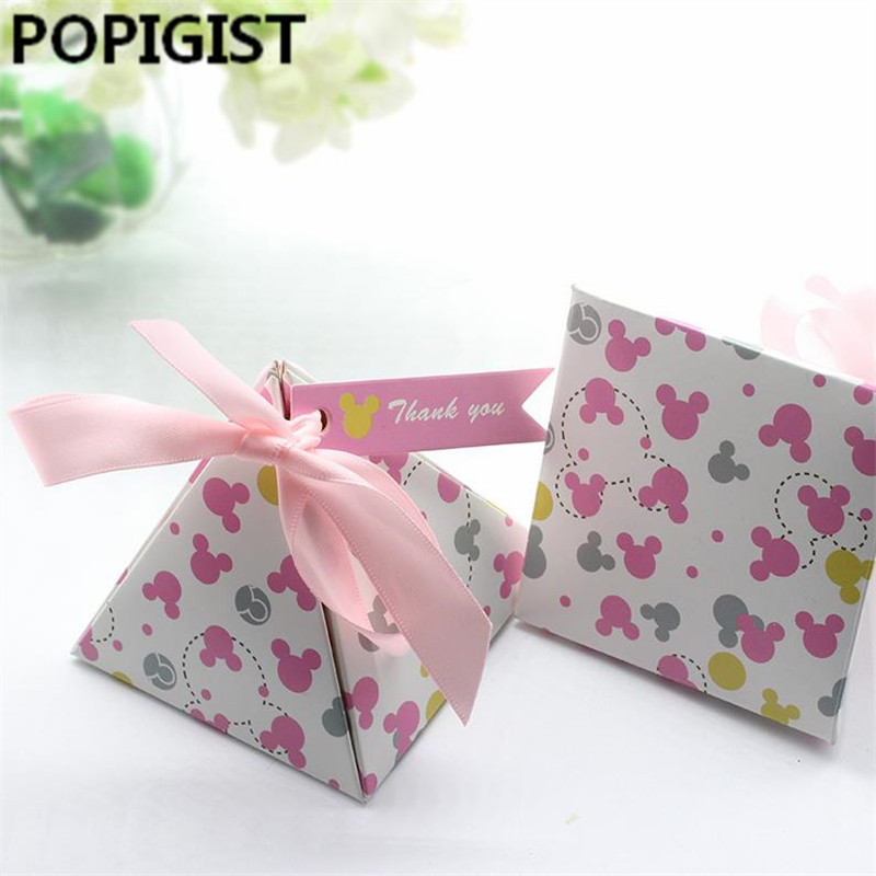30pcs Creative Minnie Double-sided Print Floral Baby Shower Candy Boxes Kids Baby Girl Birthday Party Gift Boxes Supplies