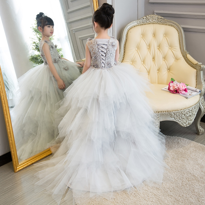 Gray Long Trailing Kids Gowns Bandage Floral Holy Communion Dress Birthday Costume Ball Gown Flower Girl Dresses for Wedding first holy communion dress long trailing flower girl dresses wedding floral beading party gowns layered ball gown princess dress