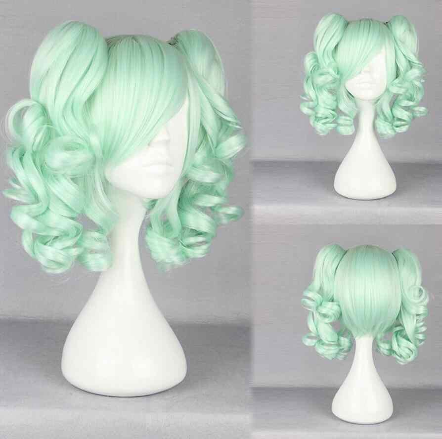 Парик Лолита Парики длинные вьющиеся зеленые 2 высокие Хвосты Косплей парик Бесплатная доставка