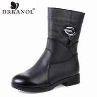 DRKANOL 2019 Women Winter Boots Genuine Leather Zipper Square Heel Thick Plush Warm Snow Boots Women Low Heel Mid Calf Boots