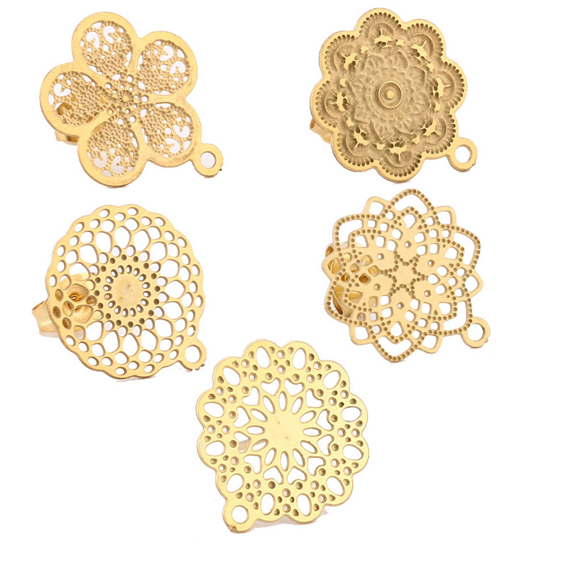 10pcs 304 Stainless Steel Hollow Earring Stud Ear Post With Loop Gold Flower Earring Pad Base Posts DIY Earring Components