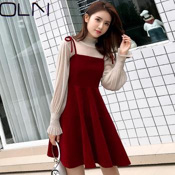 2018 nowa wersja koreańska sukienka na szelkach slim velvet pure temperament elegancka sukienka młodzieżowa tanie i dobre opinie MissDomi NYLON Lanon -Line Osób w wieku 18-35 lat C18076 Wiosna MANDARIN COLLAR Pełna Puff rękawem WOMEN Zamki Pani urząd