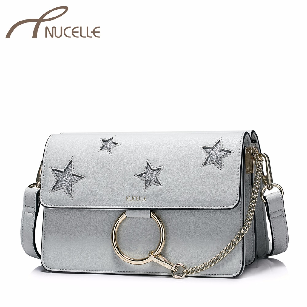 NUCELLE Ladies Fashion Chain Flap Messenger Bags Female Patchwork Stars Crossbody Purse NZ4095 Women's PU Leather Shoulder Bags  fashion design bee metal pearl pu leather chain ladies shoulder bag handbag flap purse female crossbody messenger bag 5 colors
