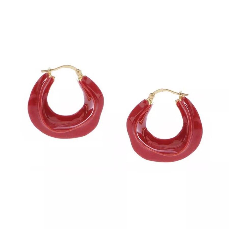Fashion Chic Red Blue White Green Macaroon Hoop Earrings For Women Cute Modern Small Earrings Fancy Brand Designer Jewelry