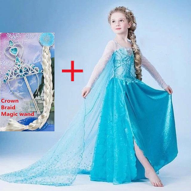 Elsa vestido de 2016 vestido de fiesta de Carnaval de disfraces para niños Cosplay elza Anna traje vestido de festa infantil roupa meninas disfraz