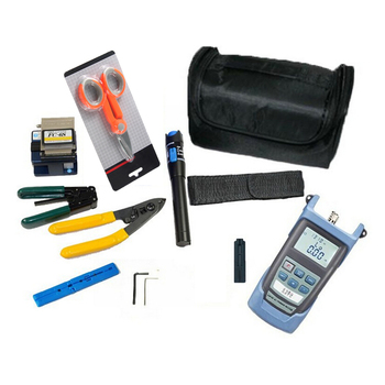 10 in 1 FTTH fiber optic tool kit with FC-6S Fiber Opticl cutter Laser power meter 1-5mW Visual Fault Locator cord wire stripper - sale item Communication Equipment