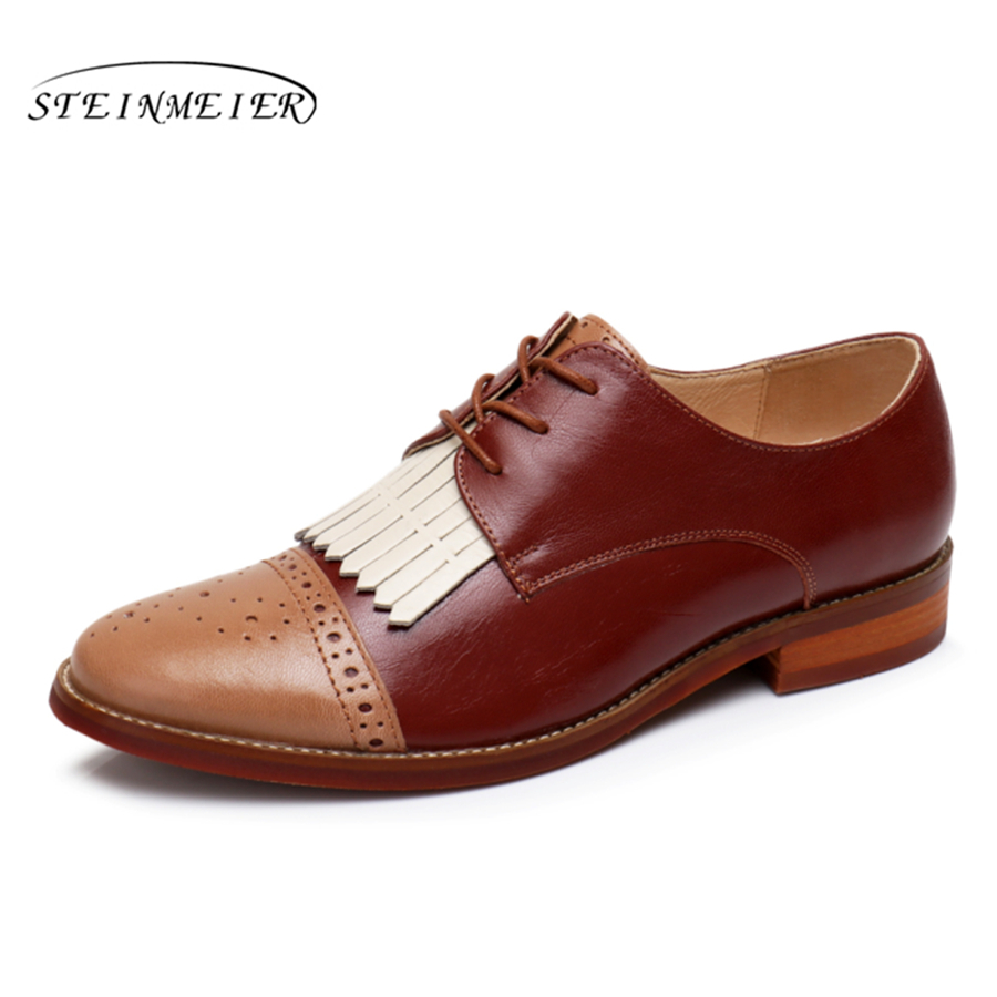 Women natrual sheepskin leather yinzo flat oxford shoes us 9 vintage carving handmade brown oxford shoes for women women natrual leather yinzo brogues flat oxford shoes woman vintage handmade sneaker oxford shoes for women 2018 red brown pink