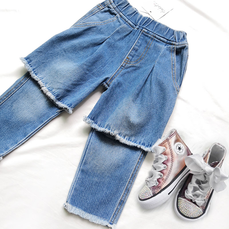 ANKRT 19 Summer New Kids Knee Holes Jeans Girls Fashion Skirts.12M-6T