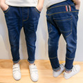Spring 2017 New Baby Boy Jean Pants Patchwork Kid Fashion Patches Jeans Elastic Waist Children Denim Trousers Bottoms