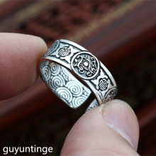KJJEAXCMY Boutique jewelry S999 silver coin ornaments retro Thai silver opening Chinese style four men's Sterling Silver Ring