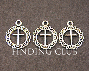 50 pcs Zinc Alloy Antique Silver Cross Charm Diy Jewelry Findings Accessories wholesale 16x20mm A815(China)