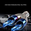 Диаметр соединения 60 мм выхлопная труба из нержавеющей стали Хвостовая труба Y Тип глушитель выпечки синий Выпускной цилиндр