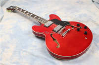 Hot sale semi hollow electric guitar,transparent red guitar,one piece neck and Abr 1 bridge,free shipping