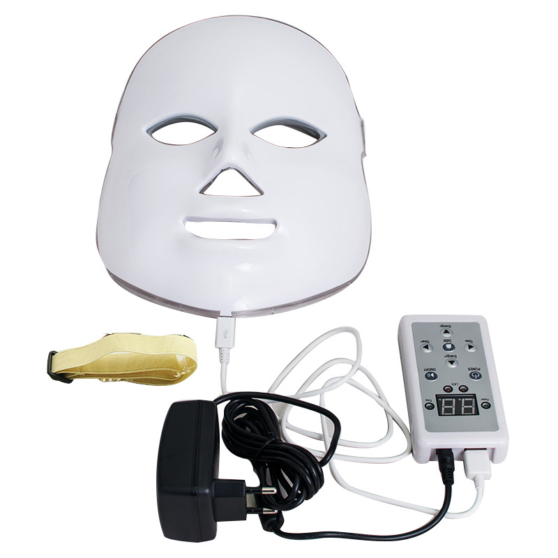 New 7 Colors LED Photon Facial Mask Skin Rejuvenation Light Therapy Reduces Wrinkles Free shipping ckeyin ultrasound facial skin care led light photon rejuvenation cleaner therapy device beauty massage acne wrinkles machine