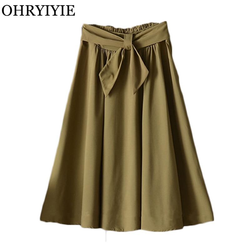 2aca7f99c OHRYIYIE alta cintura A-line Bow falda de verano Casual mujeres de Color  sólido Midi Falda larga ...
