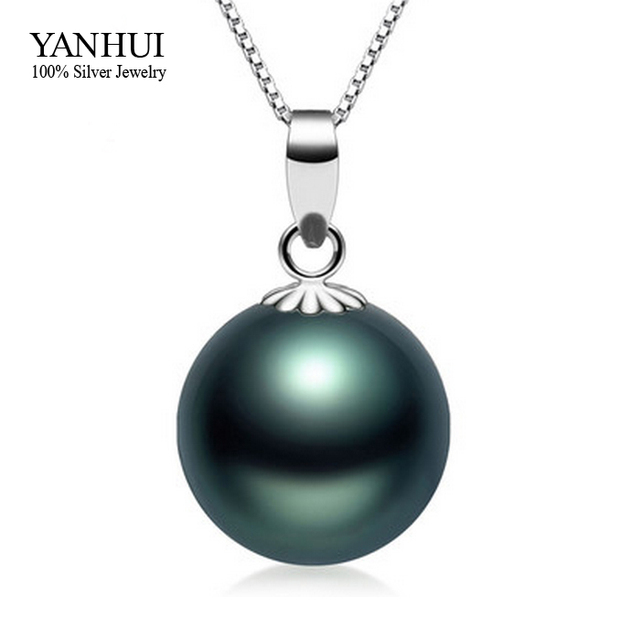 Yhamni 100 925 sterling silver natural black pearl pendant yhamni 100 925 sterling silver natural black pearl pendant necklace s925 stamped 18 inch silver aloadofball Image collections