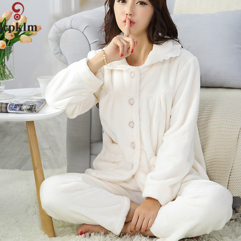 Women 39 s long sleeve winter pajama sets thickening flannel for Women s flannel sleep shirt