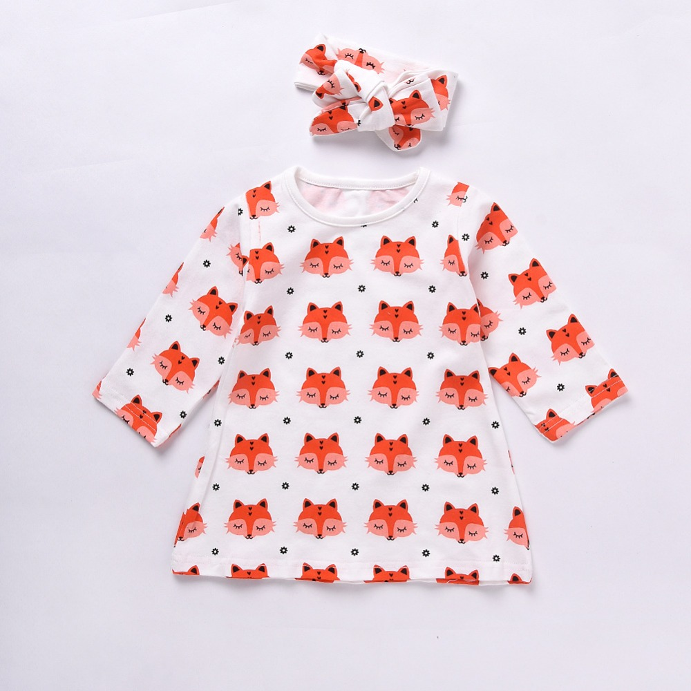 2 baby clothes neonatal newborn girl pajamas cotton fox dress dressed as a lovely suit suit