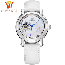 лучшая цена Automatic Watch Women Luxury Ladies Wrist Watches Women's Automatic Mechanical Skeleton Fashion brand Watch OUYAWEI Reloj Mujer