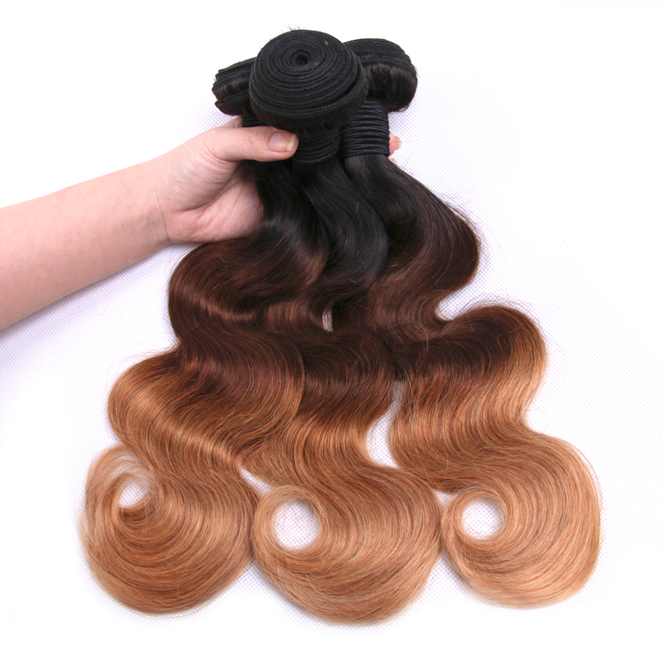 Gabrielle ombre hair bundles with closure T1b/4/27 Blonde Brazilian body wave 3 Bundles with closure non-remy Human Hair