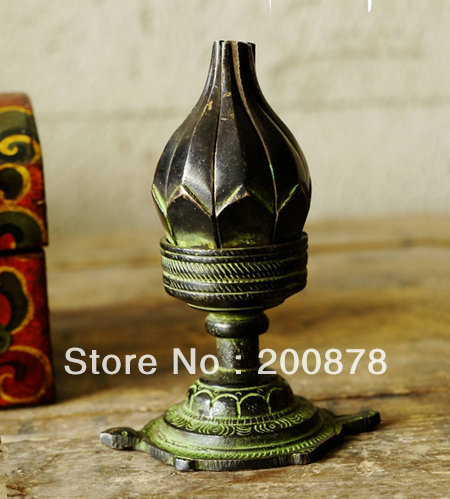 HDC0678   Indian brass lotus tortoise lamp,Nepal antiqued vintage candles holder,4'' high