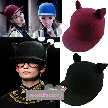 Horse Riding Hat Fashion Woman/Mens Little Devil cap 100% WOOL Black BLACKS Cat Ears 7Colors Available One Size