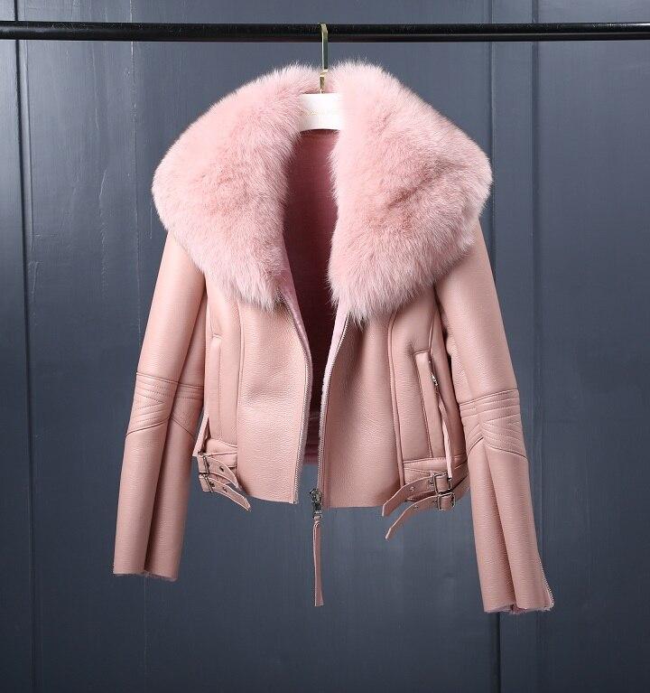 Image 4 - Oftbuy 2020 casaco de pele real casaco de inverno feminino natural gola de pele de raposa forro de lã real pu couro falso grosso quente streetwearPele verdadeira   -