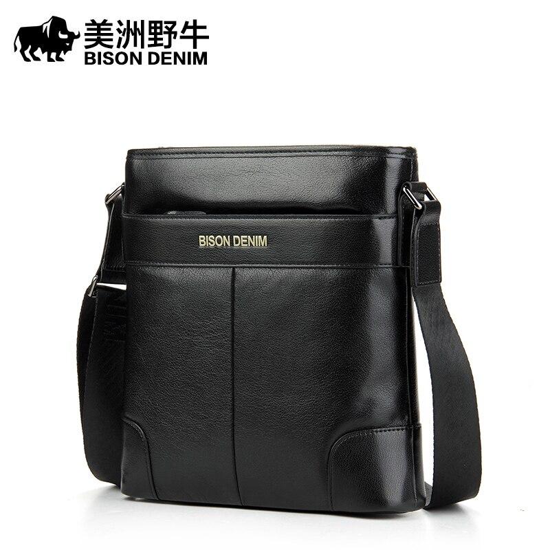 BISON DENIM Men Shoulder Bags Top Genuine Leather Briefcase Brand Men's Messenger Bag Business Casual Travel Bag Free Shipping
