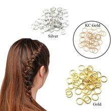 30Pcs Braiding Hair Accessaries Beads 10mm 12mm or 14mm Gold Hair Braid Dreadlock Bead Cuff Clip Braid Hoop Circle Lead Free(China)