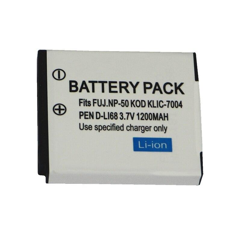 1200 mAh NP-50 FNP50 NP50 KLIC-7004 D-Li68 Batterie pour Fujifilm X10 X20 XF1 F50 F75 F665 F775 F900 EXR F505 F305 F85 F200 F100