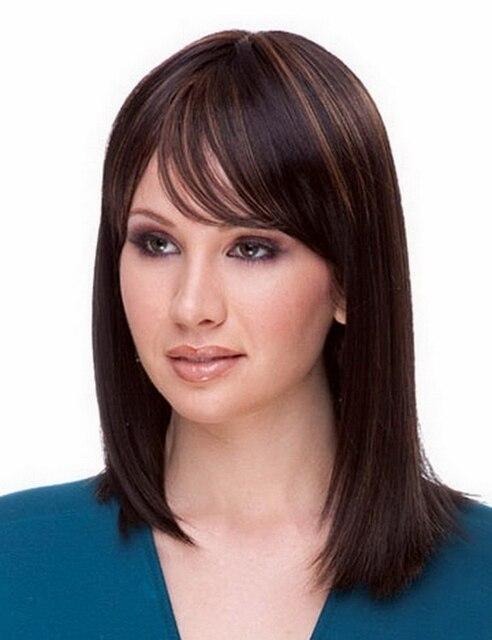 Medium Dark Brown Hair Light Brown Highlights African American Wig