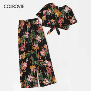 Image 2 - COLROVIE Plus Size V Neck Surplice Floral Print Blouse With Pants Women Boho Two Piece Set 2019 Summer Clothes Holiday Outfits