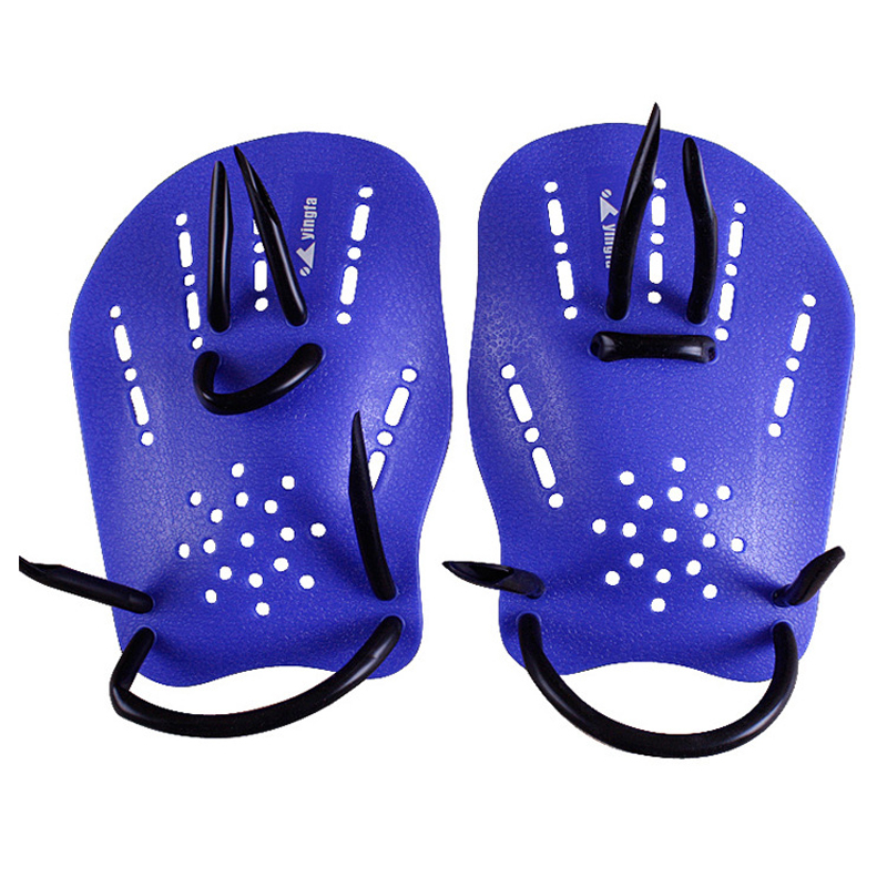 New Sale yingfa Pair blue Rubber Swimming Hand Paddles Webbed font b Gloves b font M