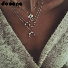docona Boho Silver World Map Moon Round Pendant Layered Necklace for Women Long Charms Multi Layer Necklaces Collares 6941 stylish layered round pendant necklace for women