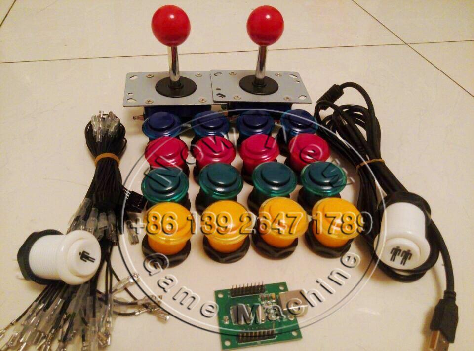 ФОТО DHL Free Shipping! [15 Sets/Pack ] Arcade Push Buttons Kit Zippyy Joystick DiY Bundles Set For Building Game Machine
