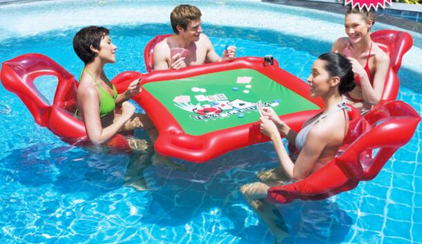 Us 60 99 Summer Outdoor Waterpark Fun Toys Waterproof Poker Water Inflatable Mahjong Table Chair Set Adult Floating Raft Air Bed Gift In Water Play