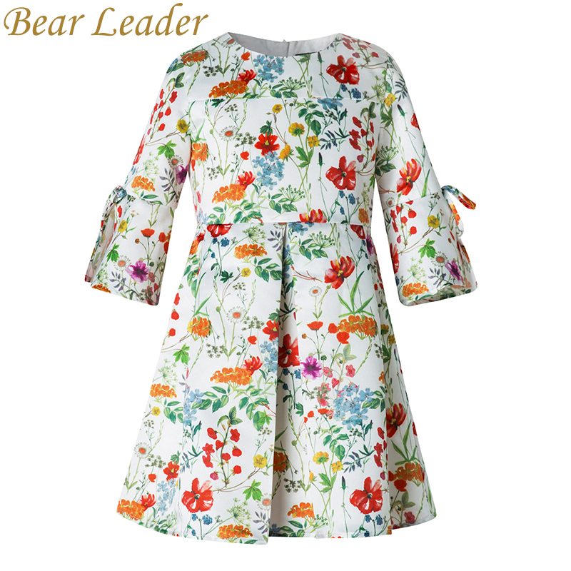 Bear Leader Girls Dress 2017New Autumn European&American Style Floral Pattern Bow Princess Dress Luxury Girl Dress For 4-14Y new language leader elementary coursebook with myenglishlab