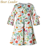Bear Leader Girls Dress 2017New Autumn European American Style Kids Flore Pattern Bow Princess Dress Luxury